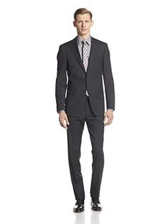 Bruno Piatelli Men's Tonal Striped Suit (Black)