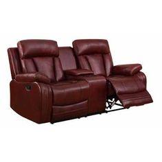 U97601-l - Burgundy Global Furniture U97601 - Burgundy Console Loveseat - Burgundy