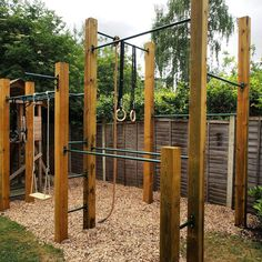 Shade Garden Design Variation on our # Backyard Jungle Gym, Backyard Playset, Backyard For Kids, Outdoor Jungle Gym, Backyard Ideas, Home Gym Garage, Diy Home Gym, Calisthenics Gym, Backyard Obstacle Course