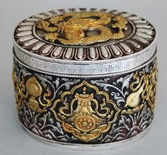 Antique vintage Tibetan Silver Gilt Box