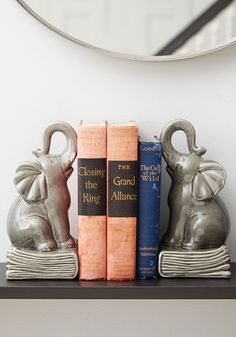 Paperback Pachyderm Bookends. A library as large as yours deserves the behemoth support of these playful elephant bookends. #gold #prom #modcloth