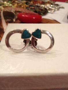 Yazzie Turquoise Earrings Sterling Silver 925 Genuine Blue Navajo Handmade OOAK Vintage Tribal Native American Zumi Hopi Southwestern Gift on Etsy, $43.00