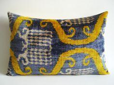 ON SALE - Silk Velvet Ikat Pillow Cover, Lumbar Pillow - Decorative Ikat Throw Pillow Cover - Green Yellow Blue Beige
