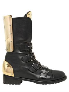 Giuseppe Zanotti 20mm Nappa Leather Plaque Combat Boots on shopstyle.com