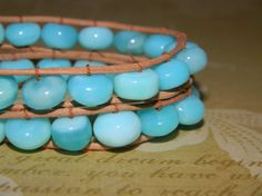 Simply delicious!  Turquoise Blue Opal Leather  Double Wrap Bracelet by RusticCharm, $45.00