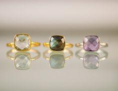 10 Off  Green Amethyst Ring  Gemstone Ring  Gold Ring  by delezhen, $62.00