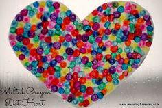 Melted Crayon Heart Art | AllFreeKidsCrafts.com