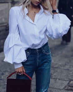 Button Down Puff Sleeve Casual Blouse Fashion 2020, Look Fashion, Hijab Fashion, Fashion Outfits, Fashion Trends, Woman Fashion, Modern Tops, Mein Style, Womens Fashion Online