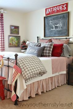 guest room, farmhouse style, red, gray, flannel, buffalo checks, red ticking, Pottery Barn bedding, LL Bean bedding, H & M pillows