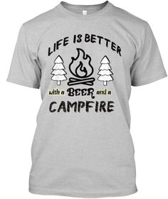 Camp Life Camp Fire Beer Tshirt Light Steel T-Shirt Front