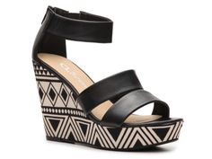 CL by Laundry Ines Printed Wedge Sandal: Sleek and sexy w/a tribal pattern to offset the basic black color