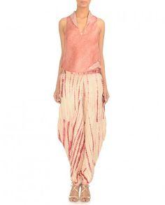 142c688cfbd0b Cream   Magenta Tie-Dye Dhoti Pants - Trousers - Apparel