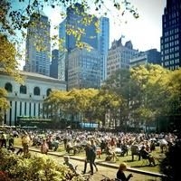 There's always something going on at Bryant Park, but I especially love it in the summer: free yoga, and a movie screening on the lawn on Monday nights.