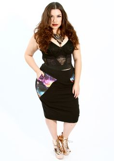 Galaxy Pencil Skirt, 69.99.  Domino Dollhouse's new line, the Astralnauts Collection, features galaxy prints, planchettes (from Ouija boards) pints skirts, and more.  Terrific fun, and some of the pieces would work in my conservative office.