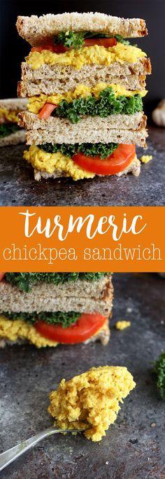 Turmeric Chickpea Salad Sandwich - an easy vegan sandwich recipe bursting with yummy flavors! via @thecrunchychron