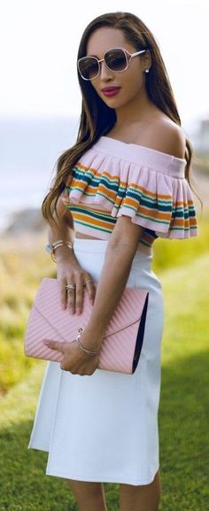 #summer #chic #style #outfitideas | Pink Multi Ruffle Crop + Pink And White