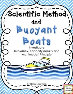 Scientific Method and Buoyant Boats- Capacity, Density and Archimedes' Principle.  Students become engineers who build and test boats to see what type of boat will hold the most weight. By Hello Learning $
