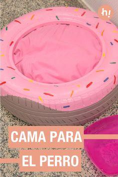 Cama para el perro ➜  Recicla un neumático usado y conviértelo en una cama para tu mascota. ¡Píntalo como un donut!  #DIY #Mascotas #Handfie