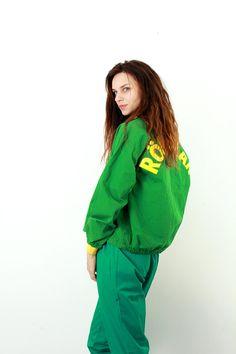 RÖNNSKÄR Vintage Jacket / Cotton Jacket / Letter Print Jacket / Unisex Bomber Jacket / Green / Zipper Jacket / Crop Jacket / Size M