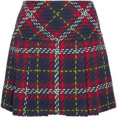Miu Miu Pleated tartan wool-tweed mini skirt (£995) ❤ liked on Polyvore featuring skirts, mini skirts, bottoms, navy, short mini skirts, short plaid skirt, tweed mini skirt, wool skirt and plaid pleated mini skirt