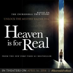 I'm so excited about the new movie #HeavenIsForReal in Theaters April 16th! Based on an Incredible true story! Watch the trailer @ HeavenIsForReal-Movie.com