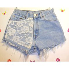 Vintage Levis high waisted denim shorts with Lace ($45) ❤ liked on Polyvore