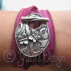 Zilverklei sluiting    Silver Clay Silk Wrap Bracelets