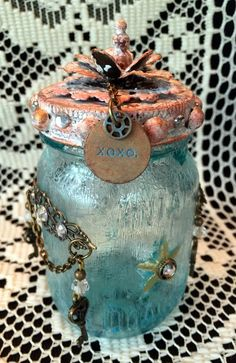 faux cracked glass mason jar for Compendium of Curiosities III Challenge ny Candy Colwell