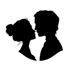 Creative man and woman silhouettes vector set 07
