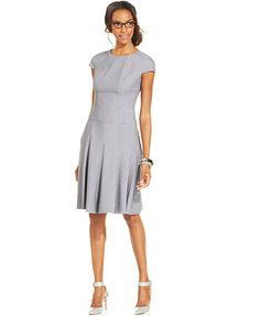 Anne Klein Executive Pinstripe Pleated Dress. Love pinstripes!.... and figure flattering cut.