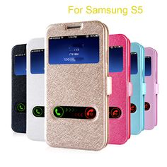 Luxury Silk Pattern Flip Cover Case For Samsung Galaxy S5 i9600 S4 PU Leather Phone Bags Cases With Touch Window View Design Price: USD 1.99 | United States
