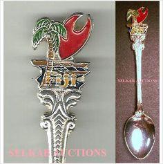 "Fiji Souvenir Teaspoon Tea Spoon Palm Tree 4-3/4"" long"
