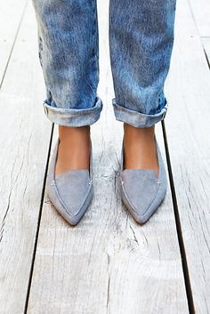 Pointed toe suede loafers