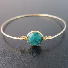 Emerald Bracelet, May Birthstone Bracelet, May Birthstone Jewelry, Emerald Bangle Bracelet, Green Gemstone Bracelet, Real Emerald Jewelry