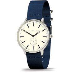 Newgate Clocks Blip Watch - Canvas Strap - Blue (£139) ❤ liked on Polyvore featuring jewelry, watches, blue, stainless steel jewelry, vintage wrist watch, stainless steel jewellery, blue watches and stainless steel watches