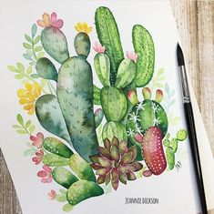 53 new Ideas succulent drawing simple cactus Succulents Drawing, Cactus Drawing, Cactus Painting, Watercolor Cactus, Cactus Art, Easy Watercolor, Painting & Drawing, Watercolor Paintings, Watercolor Succulents