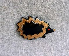 Lea Stein Hedgehog Brooch Porcupine Pin Signed by Kissisjustakiss