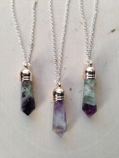 Rainbow Fluorite Necklace: Point Pendant / Rainbow Fluorite Point Necklace / Fluorite Necklace / Purple Fluorite, Terminated Point, Fluorite by MalieCreations on Etsy