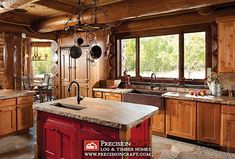 Image detail for -Log Cabin Kitchens Design, Pictures, Remodel, Decor and Ideas Rustic Kitchen Sinks, Rustic Cabin Kitchens, Country Kitchen Island, Log Home Kitchens, Copper Farmhouse Sinks, New Kitchen, Kitchen Dining, Kitchen Ideas, Copper Sinks