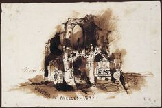 """""""Souvenir de Chelles. 1845"""". Plume encre brune et lavis sur papier beige. Paris, Maison de Victor Hugo, Inv. 893. © PMVP  l'abbaye en ruines de Chelles, comme le Souvenir de l'étang de Bellevue, se réfère peut-être à cette excursion que firent cette année-là Victor Hugo et Léonie Biard d'Aunet.  Comme l'étang de Bellevue, Chelles apparaîtra dans les Misérables : l'auberge des Thénardier en est proche et """"c'était à la source du bois du côté de Chelles que Cosette devait aller puiser de…"""
