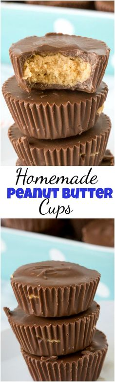 Homemade Peanut Butter Cups - Reese's peanut butter cups might be the best candy ever, but make them at home with just a handful of ingredients. So easy