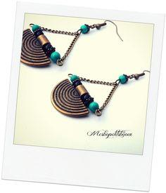 boucles d'oreilles ethniques en agate et turquoise naturelle 5b : Boucles d'oreille par mesbopetitsbijoux