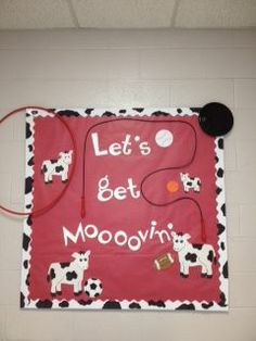 great idea for a PE room.....or change the title to Moooovin' into FILL IN THE BLANK :D