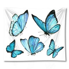 Butterflies and Flowers Tapestry Collection - Larger Blue Butterflies / 59 in x 51 in