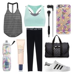 """""""Workout Wear #11"""" by laughlikecrazy ❤ liked on Polyvore featuring Sweaty Betty, adidas, LeSportsac, Casetify, Skullcandy, Victoria's Secret, NIKE and Estée Lauder"""