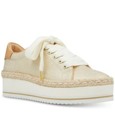Nine West Evie Lace-Up Espadrille Sneakers - Gold 9.5M