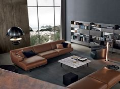 Upholstered leather sofa TRIBECA Tribeca Collection by Poliform | design Jean-Marie Massaud