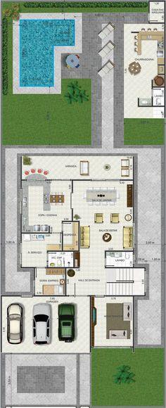 Projeto de sobrado de 3 quartos com 279,38m²