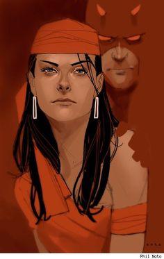 Elektra and Daredevil by Phil Noto