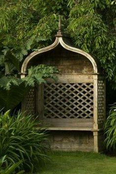 great The post covered garden bench. great appeared first on Garden Diy. Garden Arbor, Diy Garden, Garden Cottage, Dream Garden, Garden Nook, Landscape Design, Garden Design, Covered Garden, Garden Seating